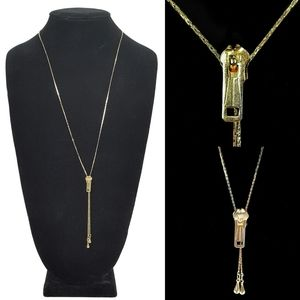 Jewelry - Vintage Gold Zipper Slider Necklace